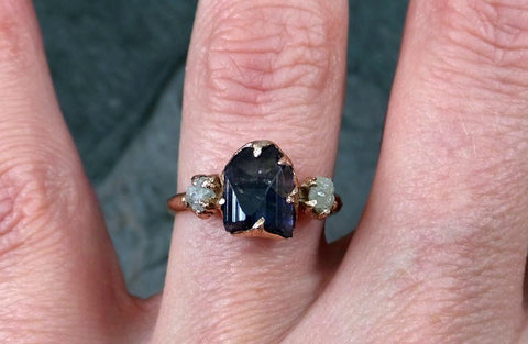 Raw Diamond Tanzanite Ring Two Tone Gemstone 14k Rose Gold Engagement Ring Wedding Ring One Of a Kind Gemstone Ring Three stone - Gemstone ring by Angeline