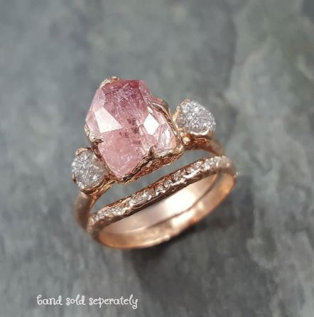 Partially Faceted Pink Topaz Diamond 14k rose Gold Ring One Of a Kind Gemstone Ring Recycled gold byAngeline Multi stone 1058