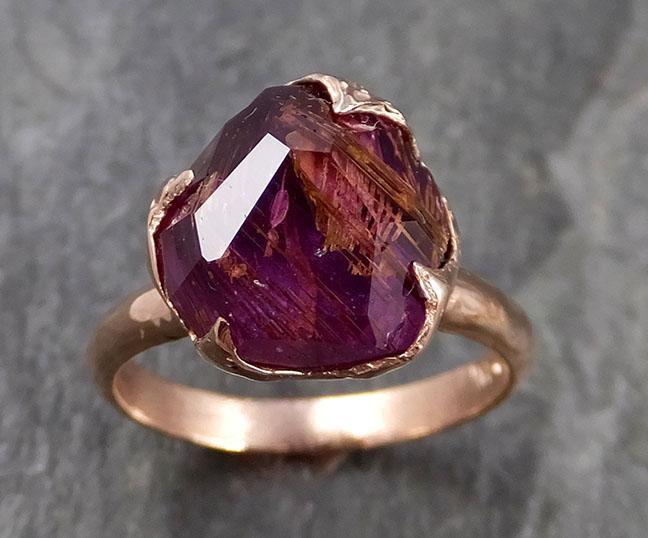 Partially Faceted Sapphire 14k rose Gold Engagement Ring Wedding Ring Custom One Of a Kind Gemstone Ring Solitaire 1060