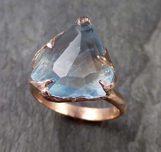Partially faceted Aquamarine Solitaire Ring 14k Rose gold Custom One Of a Kind Gemstone Ring Bespoke byAngeline 1061