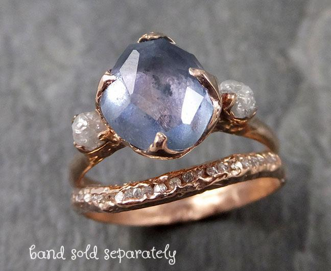 Partially faceted Montana Sapphire Diamond 14k rose Gold Engagement Ring Wedding Ring Custom One Of a Kind blue Gemstone Ring Multi stone Ring 1063