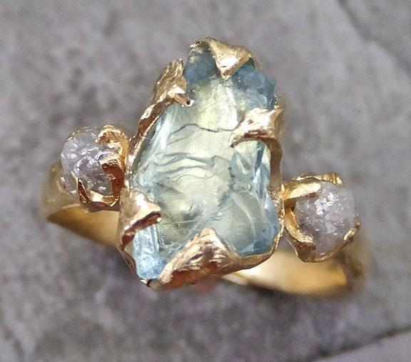 Raw Uncut Aquamarine Diamond Gold Engagement Ring Wedding Ring Custom One Of a Kind Gemstone Ring Bespoke Three stone Ring - Gemstone ring by Angeline