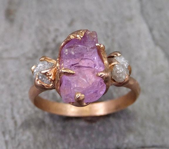 Raw Spinel Diamond Rose Gold Multi stone Engagement Ring Wedding Ring Custom One Of a Kind Pink Lavender Gemstone Ring Three stone Ring 0038 - Gemstone ring by Angeline