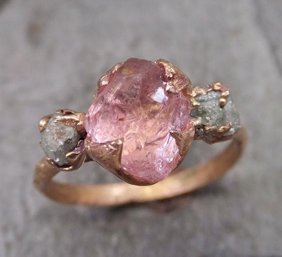 Raw Rough Pink Topaz Diamond 14k Gold Engagement Ring Wedding Ring One Of a Kind Gemstone Ring Three stone Ring - Gemstone ring by Angeline