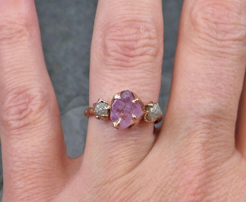 Raw Spinel Diamond Rose Gold Engagement Ring Wedding Ring Custom One Of a Kind Pink Lavender Gemstone Ring Three stone Ring - Gemstone ring by Angeline