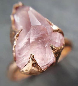 Morganite partially faceted 14k Rose gold solitaire Pink Gemstone Cocktail Ring Statement Ring gemstone Jewelry by Angeline 1503