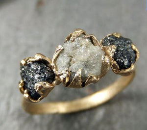 Rough Diamond Engagement Ring Raw 14k Gold Wedding Ring Black and white diamonds Rough Diamond Ring C0164