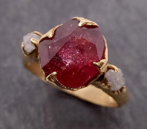 Partially Faceted Ruby Sapphire Multi stone 18k yellow Gold Engagement Ring Wedding Ring Custom One Of a Kind Gemstone Ring 1870