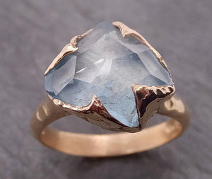 Partially faceted Aquamarine Solitaire Ring 14k gold Custom One Of a Kind Gemstone Ring Bespoke byAngeline 1873