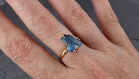 Partially faceted Blue Topaz 14k yellow Gold Engagement Solitaire Ring Wedding Ring One Of a Kind Gemstone Ring 1874