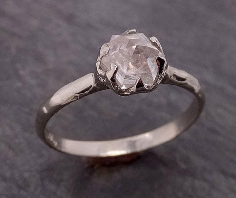 Fancy cut White Diamond Solitaire Engagement 18k White Gold Wedding Ring byAngeline 1868