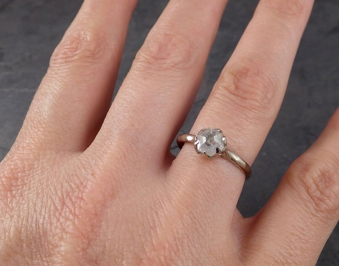 CUSTOM Raw Diamond Rose gold multi stone Engagement Ring Rough