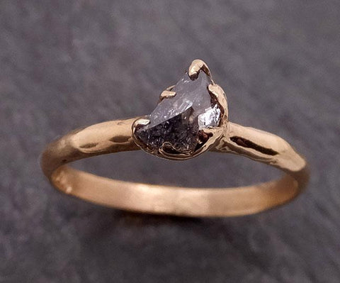 Fancy cut salt and pepper Half moon Diamond Engagement 14k Yellow Gold Solitaire Wedding Ring byAngeline 1876
