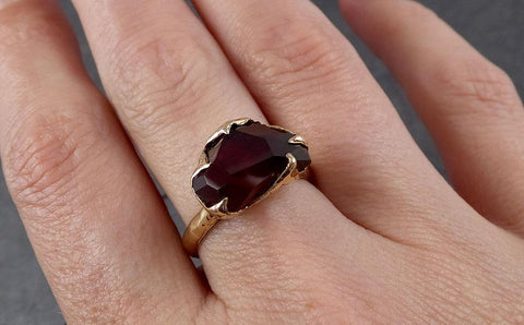 Partially faceted Natural red Garnet Gemstone solitaire ring Recycled 14k Gold One of a kind Gemstone ring 1869