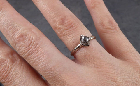 Fancy cut salt and pepper Diamond Solitaire Engagement 14k White Gold Wedding Ring byAngeline 1867