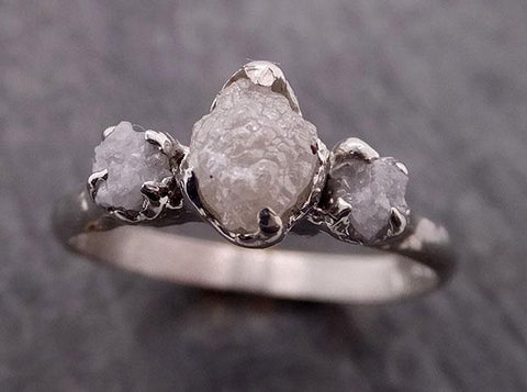 Raw Rough Diamond Engagement Stacking ring Multi stone Wedding anniversary White Gold 14k Rustic byAngeline 1879