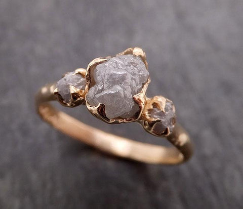 Raw Rough Diamond gold Engagement Multi stone Rough Gold Wedding Ring diamond Wedding Ring Rough Diamond Ring byAngeline 1878