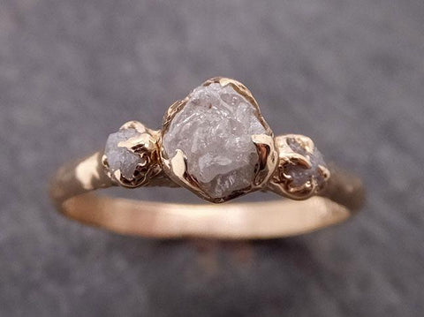Raw Rough Diamond gold Engagement Multi stone Rough 14k Gold Wedding Ring diamond Wedding Ring Rough Diamond Ring byAngeline 1881