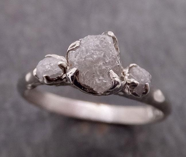 Raw Rough Diamond Engagement Stacking ring Multi stone Wedding anniversary White Gold 14k Rustic byAngeline 1883