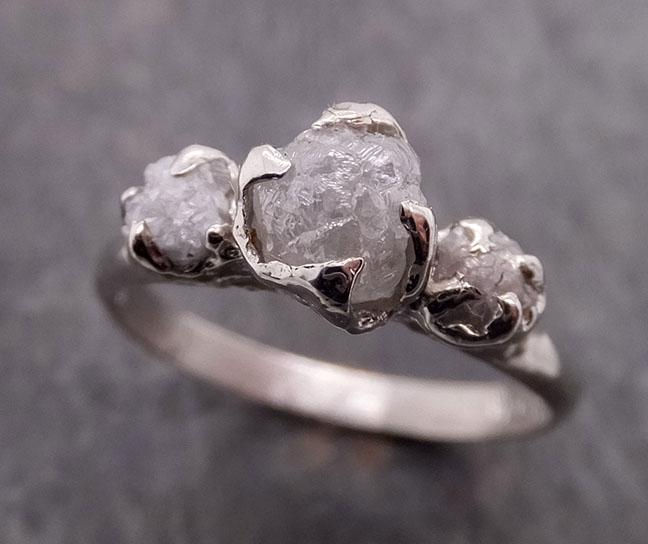 Raw Rough Diamond Engagement Stacking ring Multi stone Wedding anniversary White Gold 14k Rustic byAngeline 1884