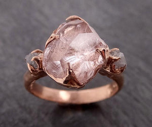Partially Faceted Morganite Diamond 14k Rose Gold Engagement Ring Multi stone Wedding Ring Custom One Of a Kind Gemstone Ring Bespoke Pink Conflict Free by Angeline 1890