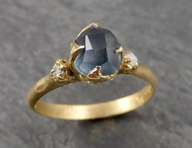 Partially faceted Montana Sapphire Diamond 18k yellow Gold Engagement Ring Wedding Ring Custom One Of a Kind blue Gemstone Ring Multi stone Ring 1892