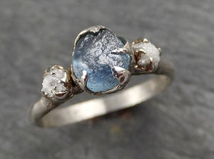 Raw Montana Sapphire Diamond White Gold Engagement Wedding Ring Custom One Of a Kind Gemstone Multi stone Ring 1889