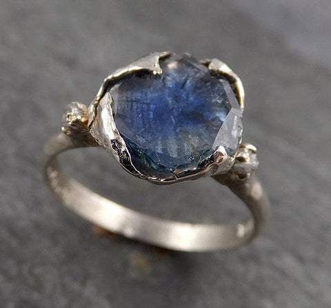Montana Sapphire Partially Faceted Multi stone Rough Diamond 14k White Gold Engagement Ring Wedding Ring Custom Gemstone Ring 1888