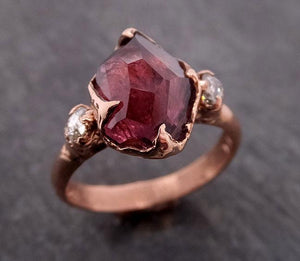 Partially Faceted pink Spinel Fancy diamonds 14k Rose gold Multi Stone Ring Gold Gemstone 1897