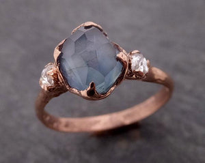 Partially faceted blue Montana Sapphire and fancy Diamonds 14k Rose Gold Engagement Wedding Ring Custom Gemstone Ring Multi stone Ring 1896