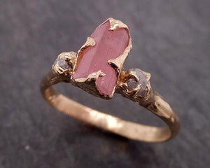 Raw Pink Tourmaline Diamond 14k Rose Gold Multi stone Engagement Ring Wedding Ring One Of a Kind Gemstone Ring Bespoke Three stone Ring 1898