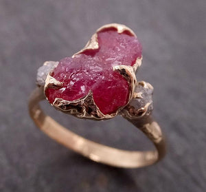 Raw Rough Ruby Diamond Engagement Ring 14k yellow gold red Gemstone Engagement birthstone  Multi Stone byAngeline 1911