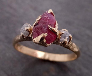 Raw Rough Ruby + Diamond Engagement Ring 14k yellow gold red Gemstone Engagement birthstone  Multi Stone byAngeline 1910