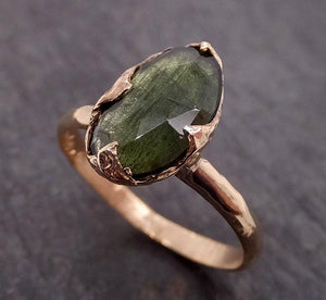 Fancy cut Green Tourmaline Yellow Gold Ring Gemstone Solitaire recycled 14k statement Engagement ring 1913