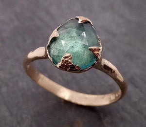 Fancy cut Green Tourmaline Yellow Gold Ring Gemstone Solitaire recycled 14k statement cocktail statement 1914