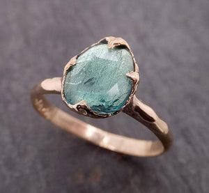 Fancy cut Green Tourmaline Yellow Gold Ring Gemstone Solitaire recycled 14k statement cocktail statement 1915