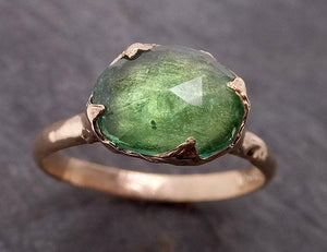 Fancy cut Green Tourmaline Yellow Gold Ring Gemstone Solitaire recycled 14k statement Engagement ring 1912