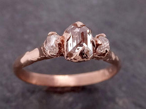 Champagne Fancy cut Diamond Engagement 14k Rose Gold Multi stone Wedding byAngeline 1916