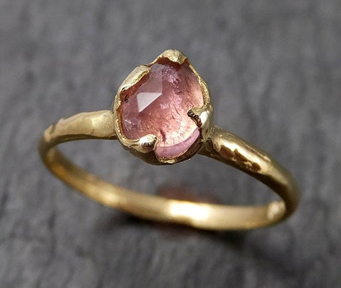 Fancy cut pink Tourmaline Gold Ring Gemstone Solitaire recycled 18k yellow statement cocktail statement 1519