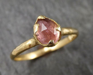 Fancy cut pink Tourmaline Rose Gold Ring Gemstone Solitaire recycled 18k statement cocktail statement 1519