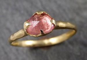 Fancy cut pink Tourmaline Ring Gemstone Solitaire recycled yellow gold 18k statement cocktail statement 1518