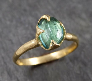 Fancy cut Green Tourmaline Yellow Gold Ring Gemstone Solitaire recycled 18k statement cocktail statement 1520