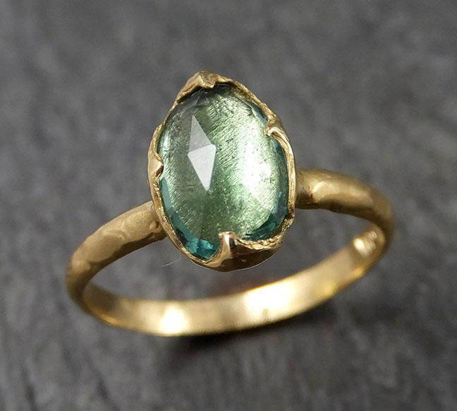 Fancy cut Green Tourmaline Yellow Gold Ring Gemstone Solitaire recycled 18k statement cocktail statement 1521