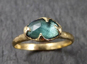 Fancy cut Green Tourmaline Yellow Gold Ring Gemstone Solitaire recycled 18k statement cocktail statement 1522