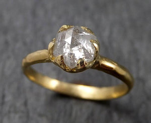 Fancy cut white Diamond Solitaire Engagement 18k yellow Gold Wedding Ring byAngeline 1523