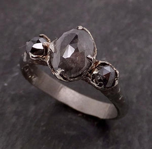 Fancy cut salt and pepper Diamond Multi stone Engagement 14k White Gold Wedding byAngeline 1920