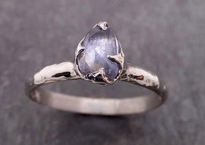 Fancy cut Blue Sapphire 14k White gold Solitaire Ring Gold Gemstone Engagement Ring 1928