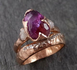 Partially Faceted Sapphire Raw Multi stone Rough Diamond 14k rose Gold Engagement Ring Wedding Ring Custom One Of a Kind Gemstone Ring 1524