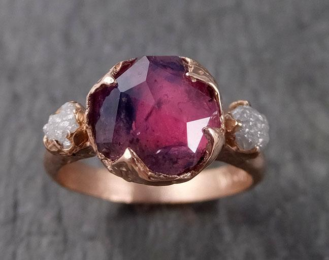 Partially Faceted Sapphire Raw Multi stone Rough Diamond 14k rose Gold Engagement Ring Wedding Ring Custom One Of a Kind Gemstone Ring 1527