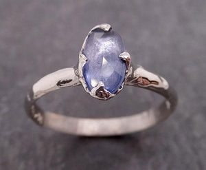 Fancy cut Blue Sapphire 14k White gold Solitaire Ring Gold Gemstone Engagement Ring 1930
